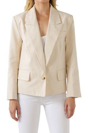 ENGLISH FACTORY Women Blazers - Women's One Button Cotton Blazer