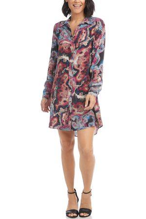 Karen Kane Women's Marbleized Long Sleeve Crepe Shirtdress