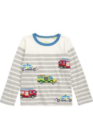 Boden Toddler Boy's Kids' Emergency Vehicles Applique Stripe Long Sleeve T-Shirt
