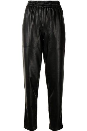 tibi Straight-leg faux-leather trousers