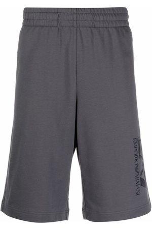 EA7 Men Sports Shorts - Logo-print cotton track shorts - Grey