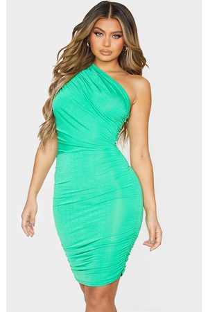 PRETTYLITTLETHING Slinky Ruched One Shoulder Bodycon Dress