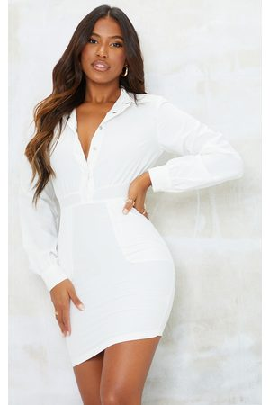 PRETTYLITTLETHING Women Bodycon Dresses - Popper Down Pocket Detail Bodycon Dress