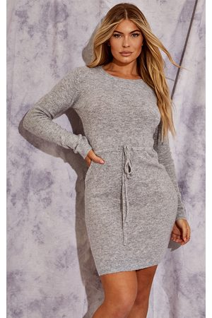 PRETTYLITTLETHING Recycled Grey Knitted Drawstring Mini Dress
