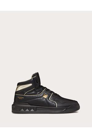 VALENTINO GARAVANI Men Sneakers - One Stud Mid-top Sneaker In Nappa Leather Man /platinum 100% Lambskin 40