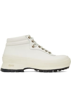 Jil Sander Men Lace-up Boots - SSENSE Exclusive White Lace-Up Work Boots