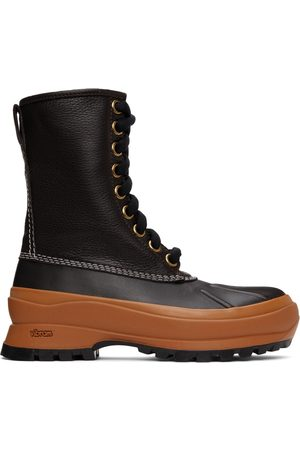 Jil Sander Men Outdoor Shoes - Brown & Orange Deerskin Hiking Boots