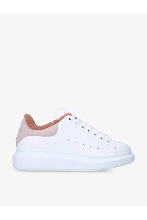 Alexander McQueen Men's Runway leather, suede and shearling platform trainers