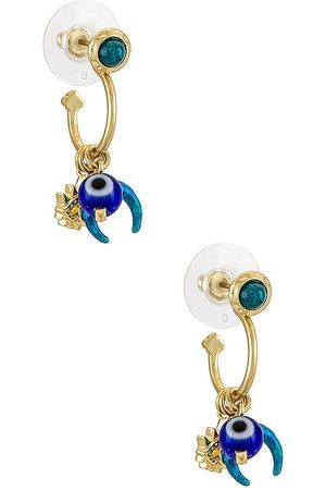 Kendra Scott Gemma Convertible Huggie Earring Set in Metallic ,Teal.