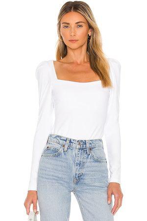 Susana Monaco Long Sleeve Puff Sleeve Top in White.