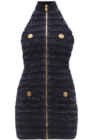 Balmain High-neck Sleeveless Tweed Mini Dress - Womens - Navy