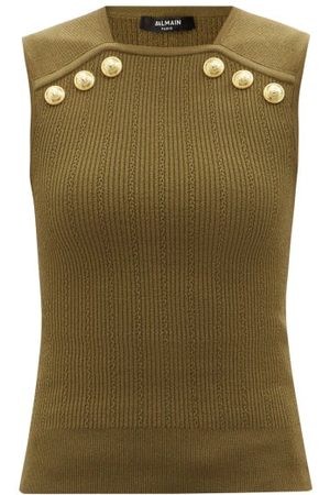 Balmain Women Tank Tops - Buttoned Ribbed-knit Sleeveless Sweater - Womens - Khaki