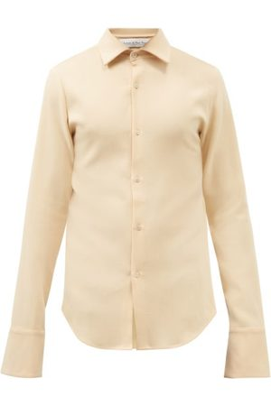 Ludovic De Saint Sernin Men Long sleeves - Wide-cuff Wool-twill Long-sleeved Shirt - Mens - Light
