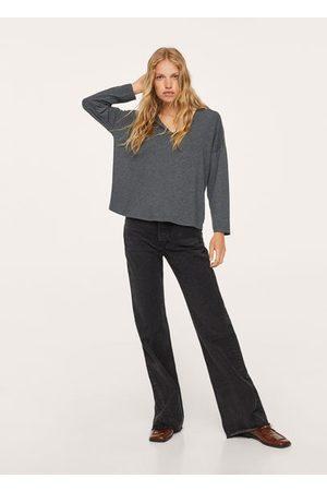 MANGO Women Long Sleeve - Long-sleeved V-neck T-shirt