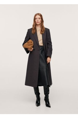 MANGO Leather asymmetric skirt