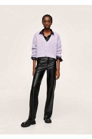 MANGO Openwork knit cardigan /pastel purple