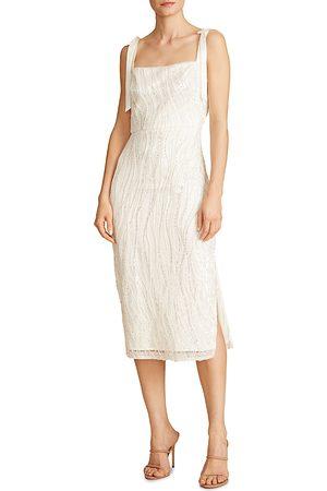 Ml Monique Lhuillier Sequin Tie Shoulder Midi Dress