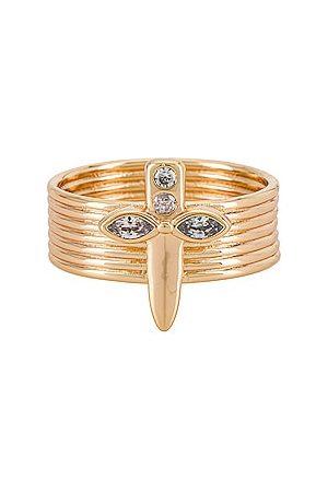 Lili Claspe Dagger Banded Ring in Metallic .