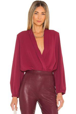 Amanda Uprichard Long Sleeve Hera Bodysuit in Wine.