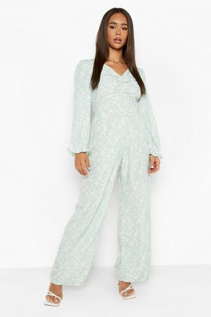 Boohoo Womens Floral Lace Up Back Wide Leg Jumpsuit - - 4