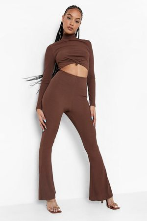 Boohoo Womens Ribbed High Neck Knot Front Jumpsuit - - 4