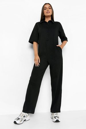 Boohoo Womens Rib Collared Button Down Jumpsuit - - 4