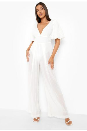 Boohoo Womens Pleated Off The Shoulder Wide Leg Jumpsuit - - 6