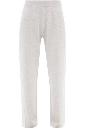 Falke Side-stripe Wool-blend Track Pants - Womens - Light Grey