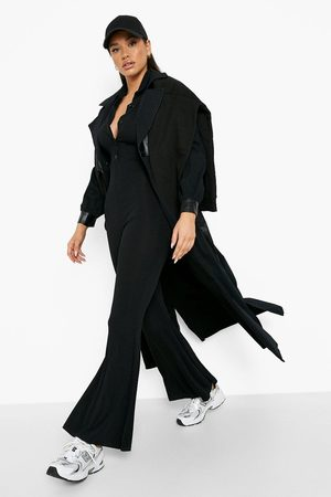 Boohoo Womens Ribbed Collared Wide Leg Jumpsuit - - 4