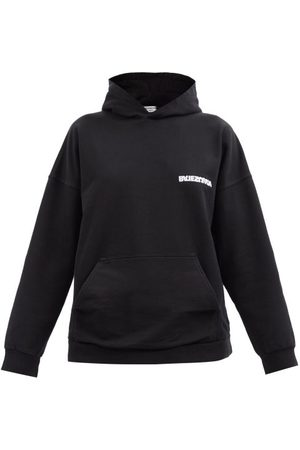 Balenciaga Logo-print Cotton-jersey Hooded Sweatshirt - Womens