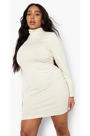 Boohoo Womens Plus Long Sleeve Roll Neck Mini Bodycon Dress - - 12