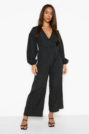 Boohoo Womens Polka Dot Wrap Smock Jumpsuit - - 4