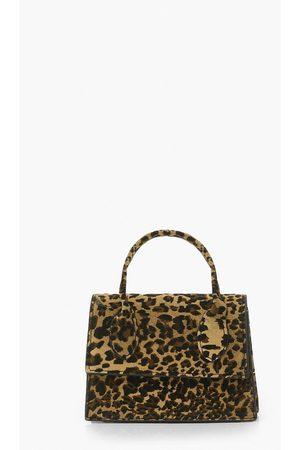 Boohoo Womens Mini Grab Leopard Suede Bag - - One Size