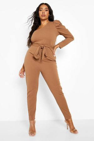 Boohoo Womens Plus One Shoulder Puff Sleeve Jumpsuit - - 12