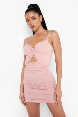 Boohoo Womens Recycled Rouche Knot Front Bodycon Mini Dress - - 2