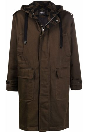VERSACE Men Coats - Monogram-print hooded coat