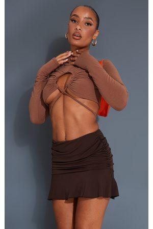 PRETTYLITTLETHING Chocolate Ruched Slinky Frill Hem Mini Skirt