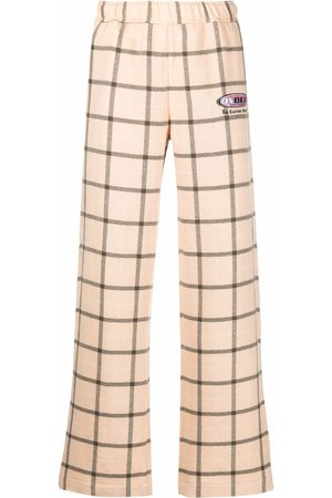 PACCBET Logo-embroidered check trousers - Neutrals