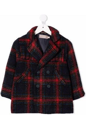 LA STUPENDERIA Girls Blazers - Tartan-print notched-lapels double-breasted coat