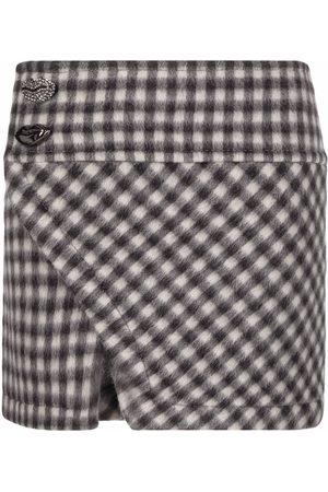 Nº21 Check-print mini skirt - Grey