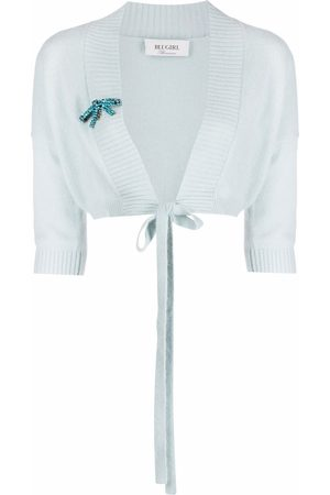 Blugirl Crystal-brooch cropped jumper