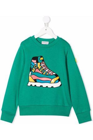 Moncler Boys Sweatshirts - Sneaker-print cotton sweatshirt