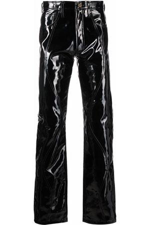Ninamounah Peacock high-waisted vinyl trousers