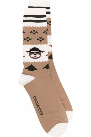 Dsquared2 Men Socks - Bear stripe-trim wool-blend socks