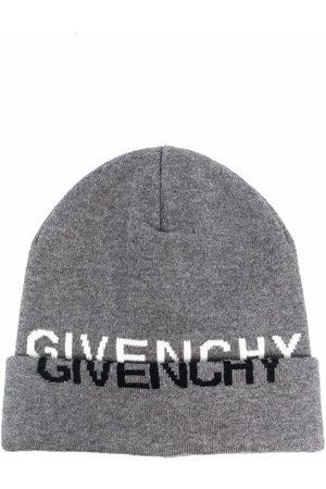 Givenchy Boys Beanies - Logo-print knitted beanie - Grey