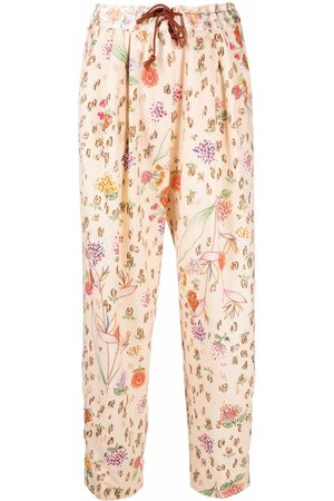 FORTE FORTE Floral straight-leg trousers - Neutrals