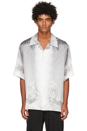 Casablanca Grey Silk Statue & Waves Short Sleeve Shirt