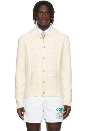 Casablanca Men Cardigans - Wool Pearl Leaf Cardigan