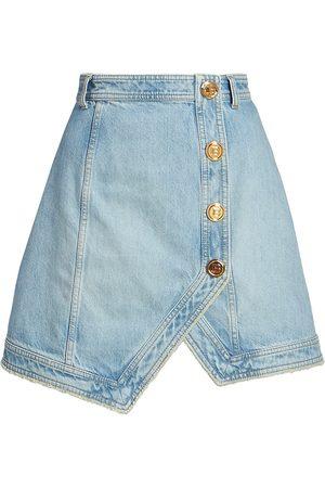 Balmain Women Mini Skirts - Asymmetrical Denim Mini-Skirt