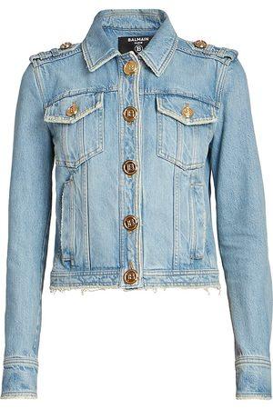 Balmain Women Denim Jackets - Cropped Denim Jacket